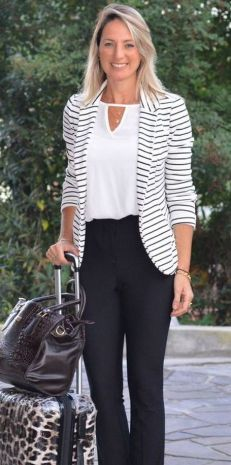 black and white striped blazer womens 40