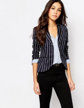 black and white striped blazer womens 42