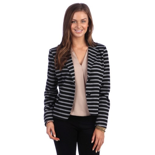 black and white striped blazer womens 43