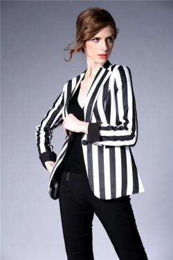 black and white striped blazer womens 48