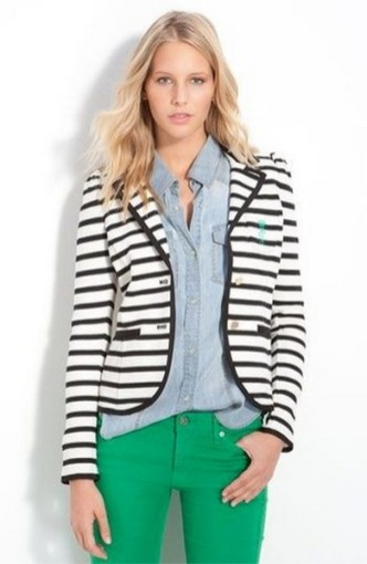 black and white striped blazer womens 49