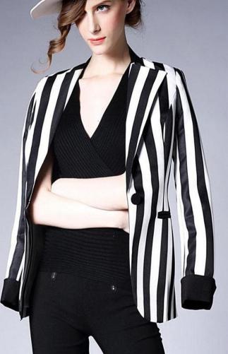 black and white striped blazer womens 50