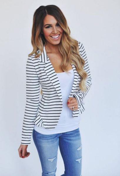 black and white striped blazer womens 6