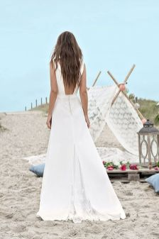 40 Deep V Open Back Wedding Dresses Ideas 17