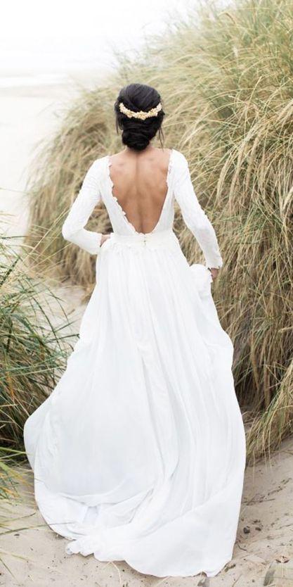 40 Deep V Open Back Wedding Dresses Ideas 18