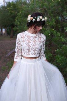 40 Einfache Crop Top Brautkleider Ideen 29