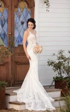 40 Fit and Flare With Long Train Wedding Dresses Ideas 10