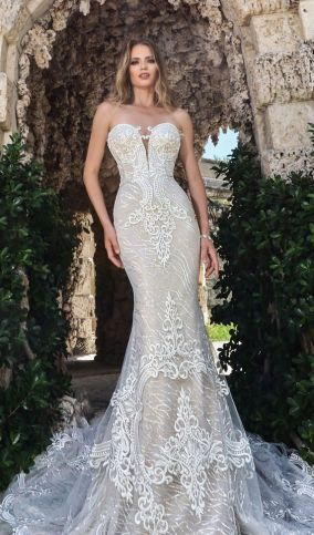 40 Fit and Flare With Long Train Wedding Dresses Ideas 18