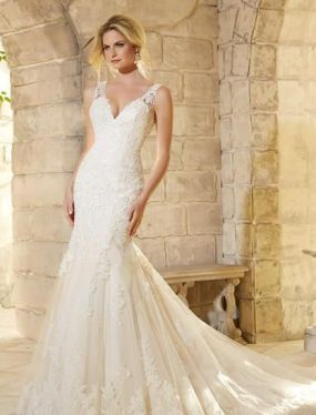 40 Fit and Flare With Long Train Wedding Dresses Ideas 21