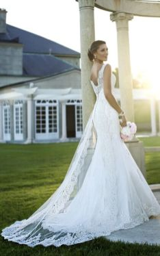 40 Fit and Flare With Long Train Wedding Dresses Ideas 23