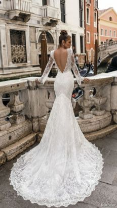 40 Fit and Flare With Long Train Wedding Dresses Ideas 34
