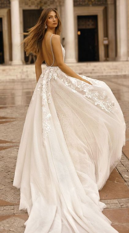 40 Fit and Flare With Long Train Wedding Dresses Ideas 38