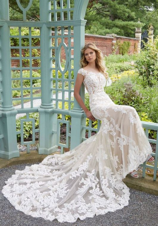 40 Fit and Flare With Long Train Wedding Dresses Ideas 39