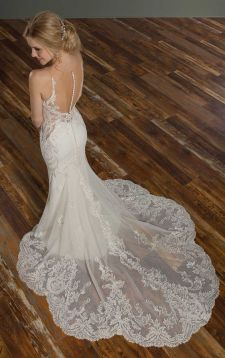 40 Fit and Flare With Long Train Wedding Dresses Ideas 41
