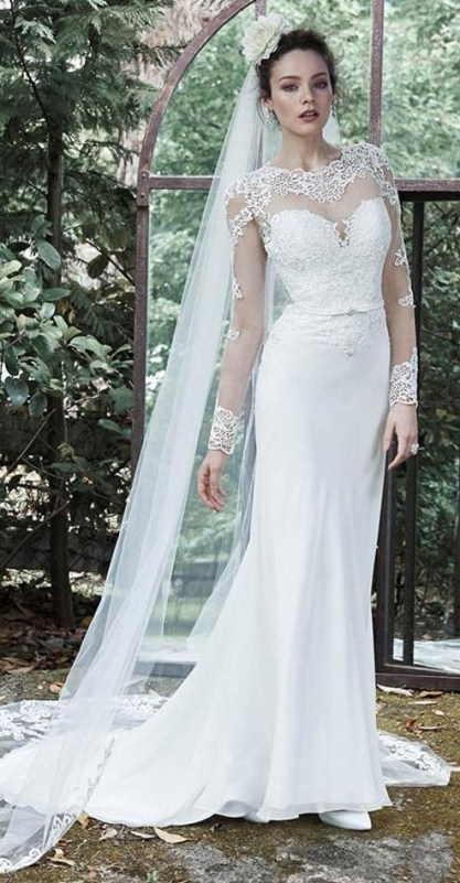40 Long Viels Wedding Dresses Ideas 32