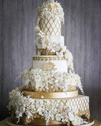 50 Gold Wedding Cakes Ideas 25