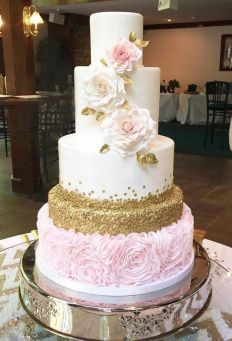 50 Gold Wedding Cakes Ideas 34