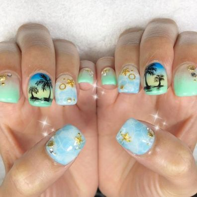 40 Beach Themed Nail Art for Summer Ideas 1