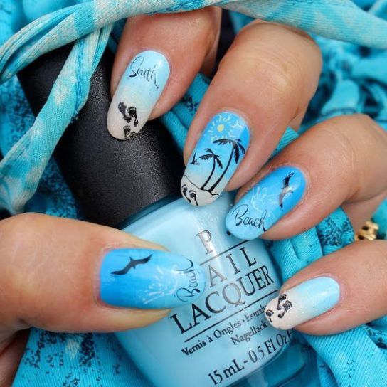 40 Beach Themed Nail Art for Summer Ideas 19