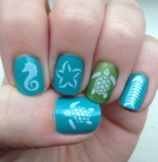40 Beach Themed Nail Art for Summer Ideas 39