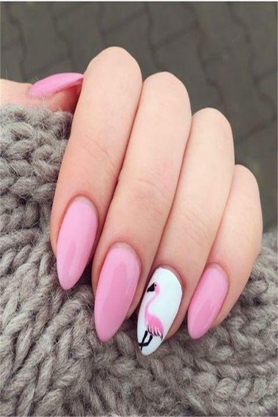 40 Cute Flamingo Themed Nail Art Ideas 10