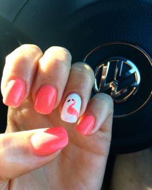 40 Cute Flamingo Themed Nail Art Ideas 11