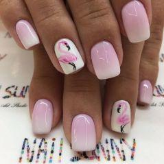 40 Cute Flamingo Themed Nail Art Ideas 15