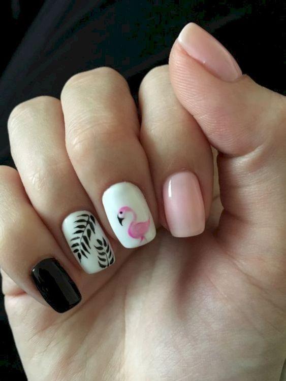 40 Cute Flamingo Themed Nail Art Ideas 33