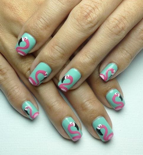40 Cute Flamingo Themed Nail Art Ideas 35