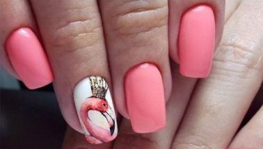 40 Cute Flamingo Themed Nail Art Ideas 38