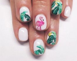 40 Cute Flamingo Themed Nail Art Ideas 40