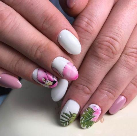 40 Cute Flamingo Themed Nail Art Ideas 42