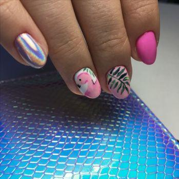 40 Cute Flamingo Themed Nail Art Ideas 45