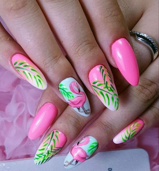 40 Cute Flamingo Themed Nail Art Ideas 46