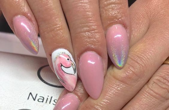 40 Cute Flamingo Themed Nail Art Ideas 47