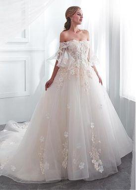 40 Off the Shoulder Wedding Dresses Ideas 17