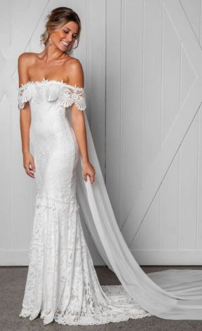 40 Off the Shoulder Wedding Dresses Ideas 33