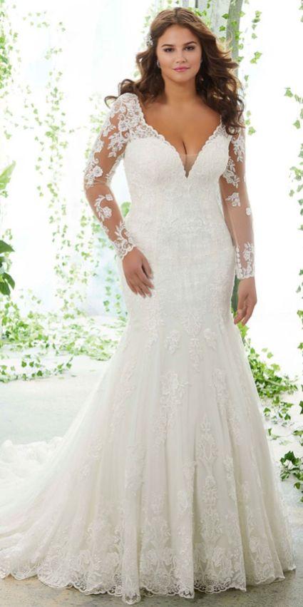 50 V Neck Bridal Dresses for Plus Size Ideas 1