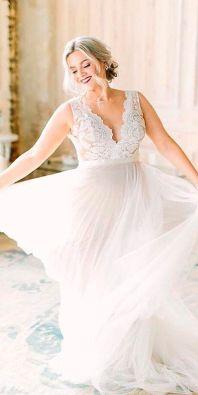 50 V Neck Bridal Dresses for Plus Size Ideas 2