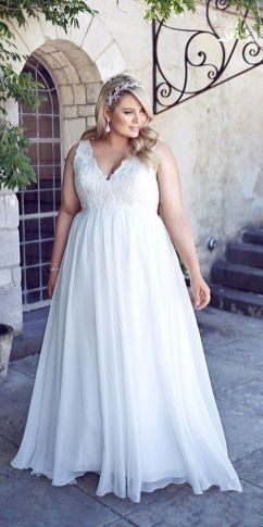 50 V Neck Bridal Dresses for Plus Size Ideas 40
