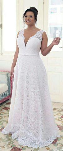 50 V Neck Bridal Dresses for Plus Size Ideas 43