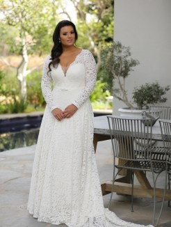 50 V Neck Bridal Dresses for Plus Size Ideas 50