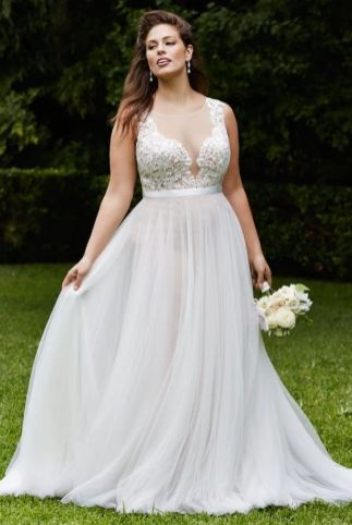 50 V Neck Bridal Dresses for Plus Size Ideas 7