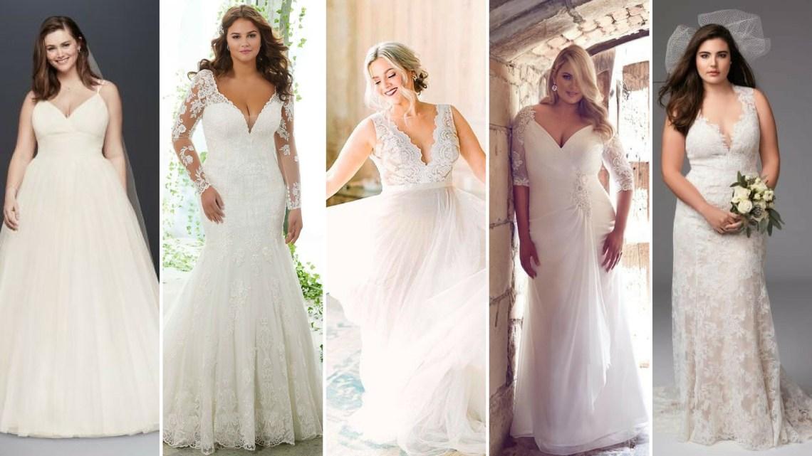 50 V Neck Bridal Dresses for Plus Size Ideas