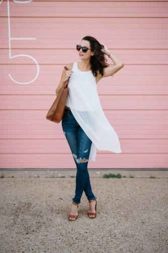 50 Ways to Wear White Sleeveless Top Ideas 19