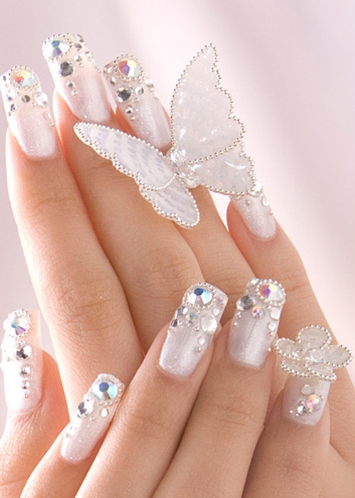 30 Glam Wedding Nail Art for Bride Ideas 33