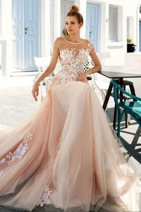 30 Soft Color Look Bridal Dresses Ideas 6