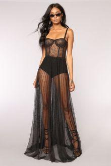 40 Black Mesh Long Dresses Ideas 19