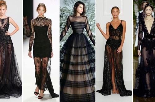 40 Black Mesh Long Dresses Ideas