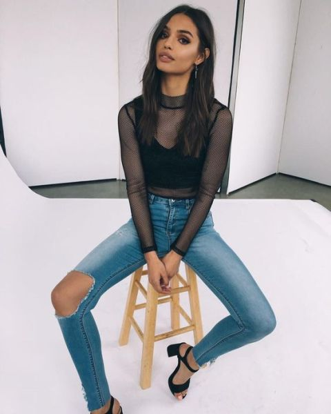 50 How to Wear Black Mesh Tops in Style Ideas 2